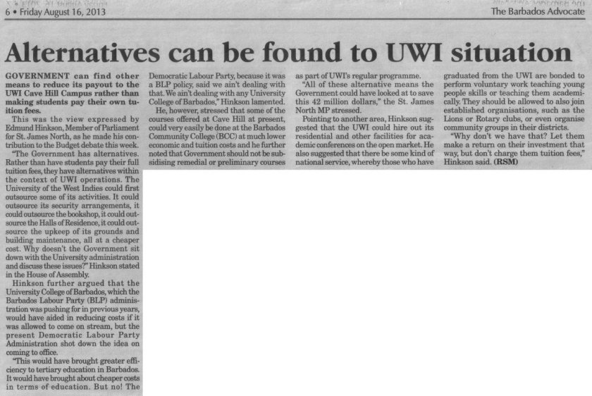 Alternatives can be found to UWI situation - 2013-08-16 - The Barbados Advocate - Page 6