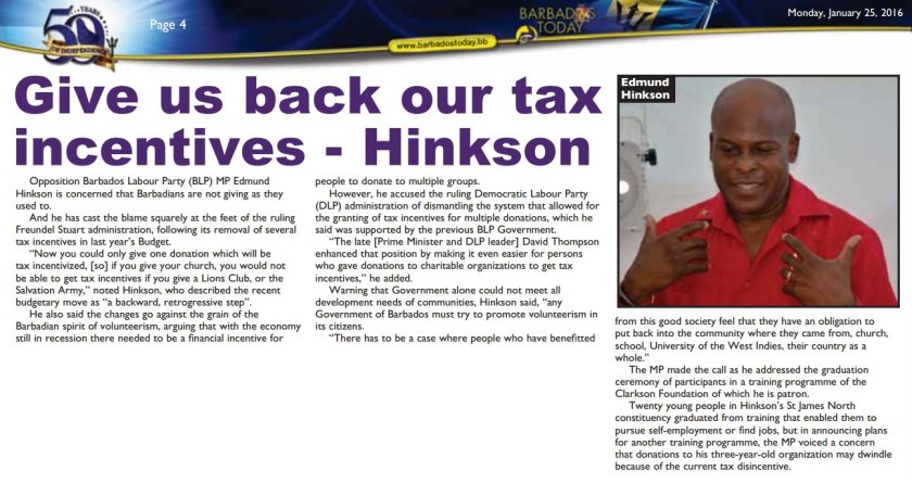 2016-01-25 - Barbados Today - Page 4 - Give us back our tax incentives - Hinkson