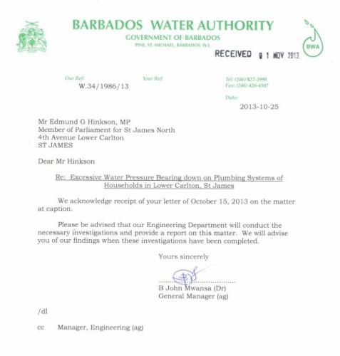 2013-10-25 Response from Barbados Water Authority
