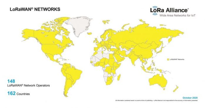 map of LoRaWAN adoption worldwide