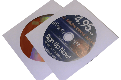 Low cost CD-ROM Replication in White Paper Sleeve with Clear Window and Flap