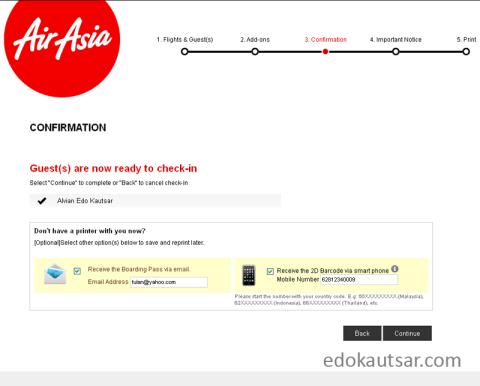 Cara web check in AirAsia