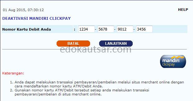 Deaktivasi Mandiri Clickpay Gagal