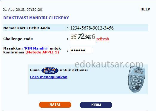 Deaktivasi Mandiri Clickpay