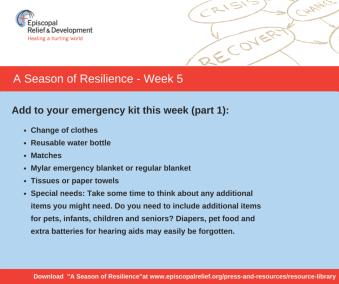 A Season of Resilience- Week 5a Emergency Kit