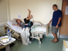 Messing with Sarah's bed during Hospital Ministry