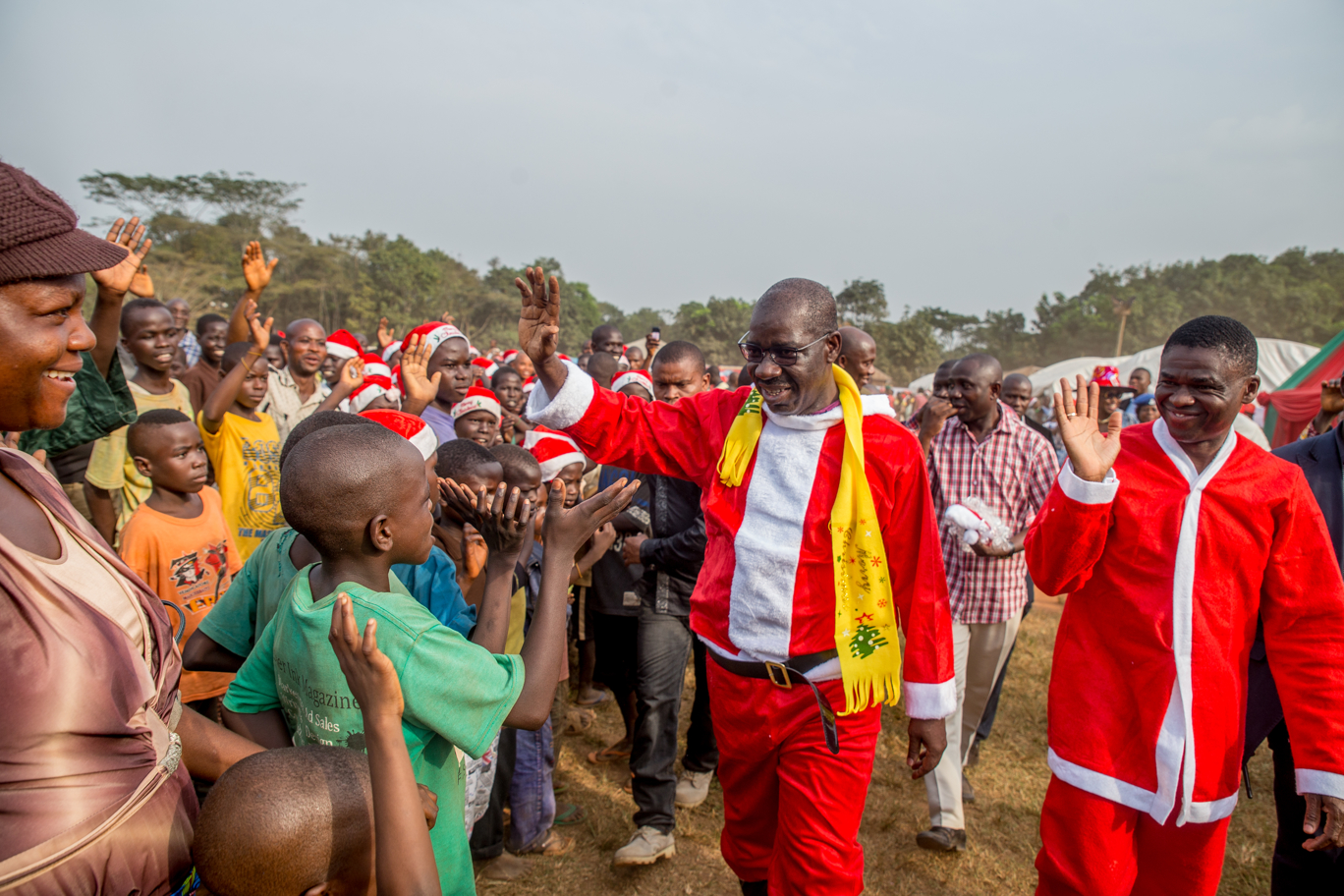 Surprise, excitement as Governor Obaseki, Deputy posed as Santa Claus for IDPs