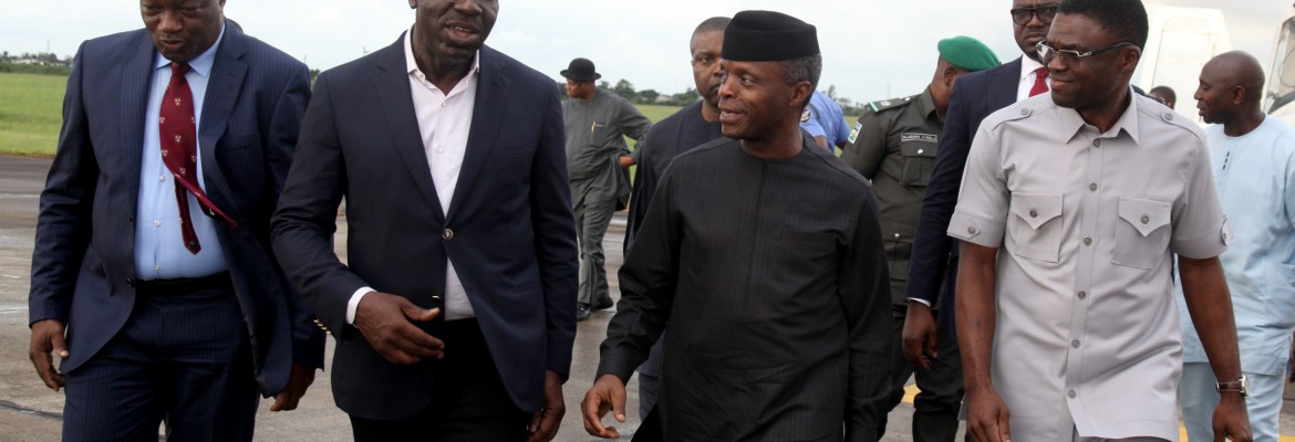 L-R: Secretary to Edo State Government, Osarodion Ogie Esq.; Edo State Governor, Godwin Obaseki; Vice President Yemi Osinbajo and the Deputy Governor, Rt. Hon. Philip Shaibu during the Vice President's stop over in Benin City, after the National Council on Niger Delta meeting which the VP attended in Ondo State.