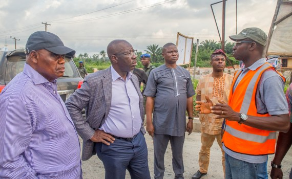 L-R: APC Party Leader, Esan West LGA, Elder Pius Omofuma; Governor Godwin Obaseki of Edo State; Commissioner for Infrastructure, Hon. Engr. Amiolemen Osahon, Special Adviser, Media and Communication Strategy, Mr. Crusoe Osagie and Project Engineer, Engr. Joel Egbon during the governor's inspection of ongoing road projects in Edo Central Senatorial District on Friday, September 15, 2017.