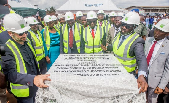 (2nd Right) Governor Godwin Obaseki of Edo State, unveiling a plaque during the groundbreaking ceremony of the reconstruction and revamp of the old Benin Technical College in Benin City on Wednesday, September 20, 2017. With him are; (1st Right) Chief of Staff to the Governor, Mr. Taiwo Akerele; (3rd Right) Edo State Deputy Governor, Rt. Hon. Philip Shaibu; (4th left) Secretary to the State Government, Osarodion Ogie Esq.; and other dignitaries.