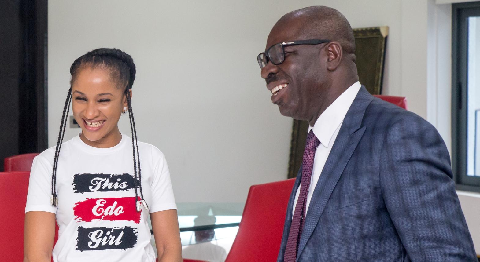 Nollywood Star, Adesua Etomi visits Obaseki, lauds achievements