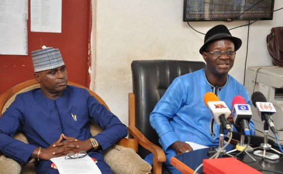 Edo state Commissioners for Communication and Orientation, Rt. Hon. Paul Ohonbamu (right); and Youths and Special Duties, Hon. Mika Amanokha addressing journalists after the EXCO meeting at the Government House, Benin City, on Wednesday, October 11, 2017.