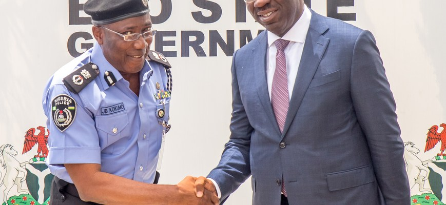 Governor Godwin Obaseki of Edo State (right) and the new Edo State Commissioner of Police (CP), Johnson Babatunde Kokumo, at the Government House in Benin City on Wednesday, October 25, 2017.