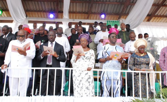 L-R: Bayelsa State Governor, Dr. Seriake Dickson; Ondo State Governor, Rotimi Akeredolu (SAN); Edo State Governor, Mr. Godwin Obaseki; his wife, Mrs. Betsy Obaseki; Deputy Governor, Edo State, Rt. Hon. Philip Shaibu; Deputy Governor, Ogun State, Chief Mrs. Yetunde Onanuga and Minister of Transport, Rotimi Amaechi, during governor Obaseki's one-year anniversary thanksgiving service, in Benin City, Edo State, on Sunday, November 12, 2017.