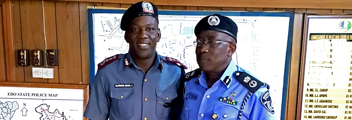 L-R: Director, Edo State Traffic Management Agency (EDSTMA) Mr. Dennis Oloriegbe and the Edo State Commissioner of Police, Johnson Kokumo, after a press briefing on the manhandling of EDSTMA officials by a police officer in Benin City, on Monday, November 21, 2017