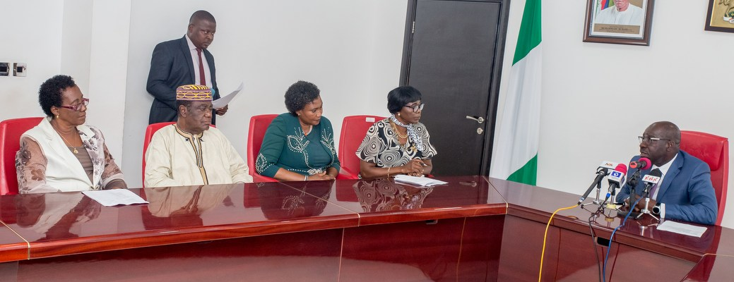 Governor Godwin Obaseki of Edo State with Prof. Abigail Imogie (2nd from right),   Prof. Felicia I. Ofoegbu (left),  Prof. Abraham Imogie (2nd from left), Prof. Elizabeth O. Egbochuku (3rd from left), all members of the Nigerian Academy of Education, during a courtesy visit to the governor at Government House in Benin City.