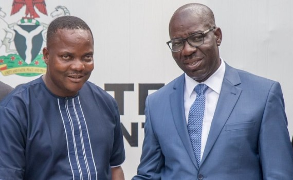 Governor Godwin Obaseki of Edo State receiving the Federal Commissioner, Public Complaints Commission (PCC), Hon.  Atari Felix (left), during a courtesy visit to the governor, in Government House, Benin City.