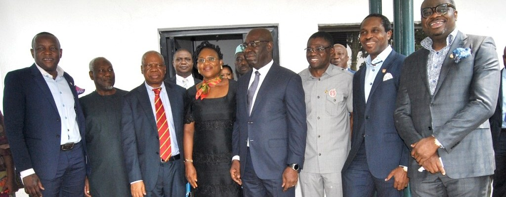 L-R: Co-Founder & Director, Sahara Energy, Tope Shonubi; Board Member, Mallam Lawan Buba; Chairman, Funso Kupolokun; Managing Director, Mrs. Jumoke Ajayi; Edo State Governor, Mr. Godwin Obaseki; his deputy, Rt. Hon. Philip Shaibu; Co-Founder & Director, Sahara Energy, Tonye Cole; and Director, Kola Adesina, after the state Executive Council meeting where the management team of Sahara Group were unveiled as latest investor in the state, in Benin City.