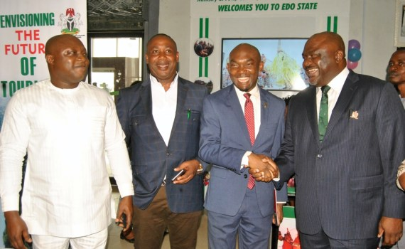 L-R: Group Managing Director, VIKO Nigeria, Mr. Chidi Lucky Kanu; Special Adviser to the Edo State Governor on Special Duties, Hon. Yakubu Gowon; Chief of Staff to the Governor, Chief Taiwo Akerele and the Commissioner for Arts, Culture, Tourism and Diaspora Affairs, Hon. Osazee Osemwegie-Ero, after the unveiling of the Tourism Information Desks, at the Benin Airport, on Wednesday, January 17, 2018.