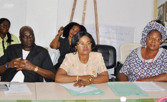 Acting Chairman, State Universal Basic Education Board and Special Adviser to the Governor of Edo State on Basic Education, Dr. Joan Osa Oviawe (right); Director, Social Mobilisation Department, SUBEB, Mrs. J.E. Oghedegbe (middle) during a meeting with members of Mothers' Association in Nigeria, Edo State chapter, in Benin City on Thursday, January 11, 2018.