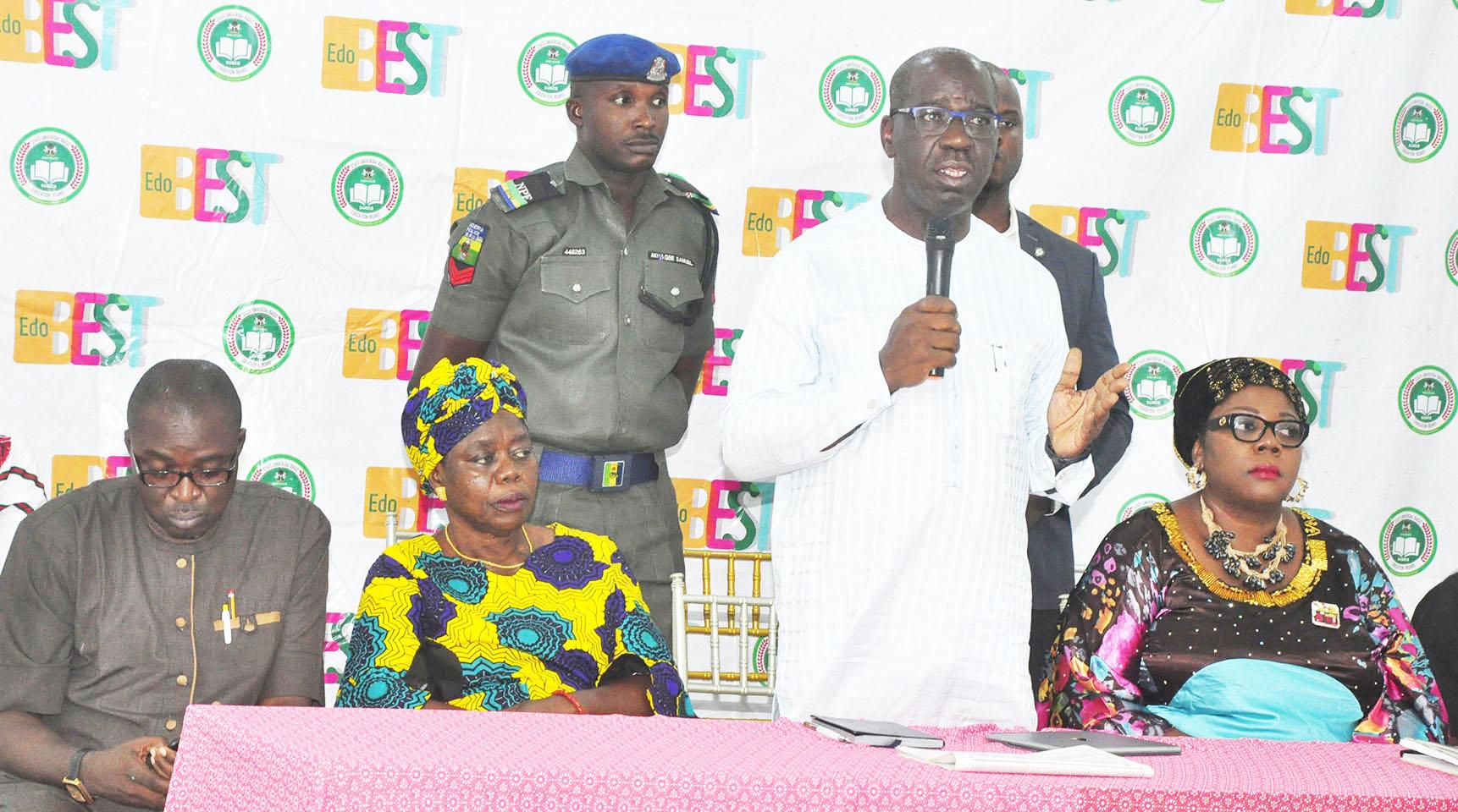 Obaseki meets contractors on revamp of 230 schools, threatens prosecution over sub-standard job
