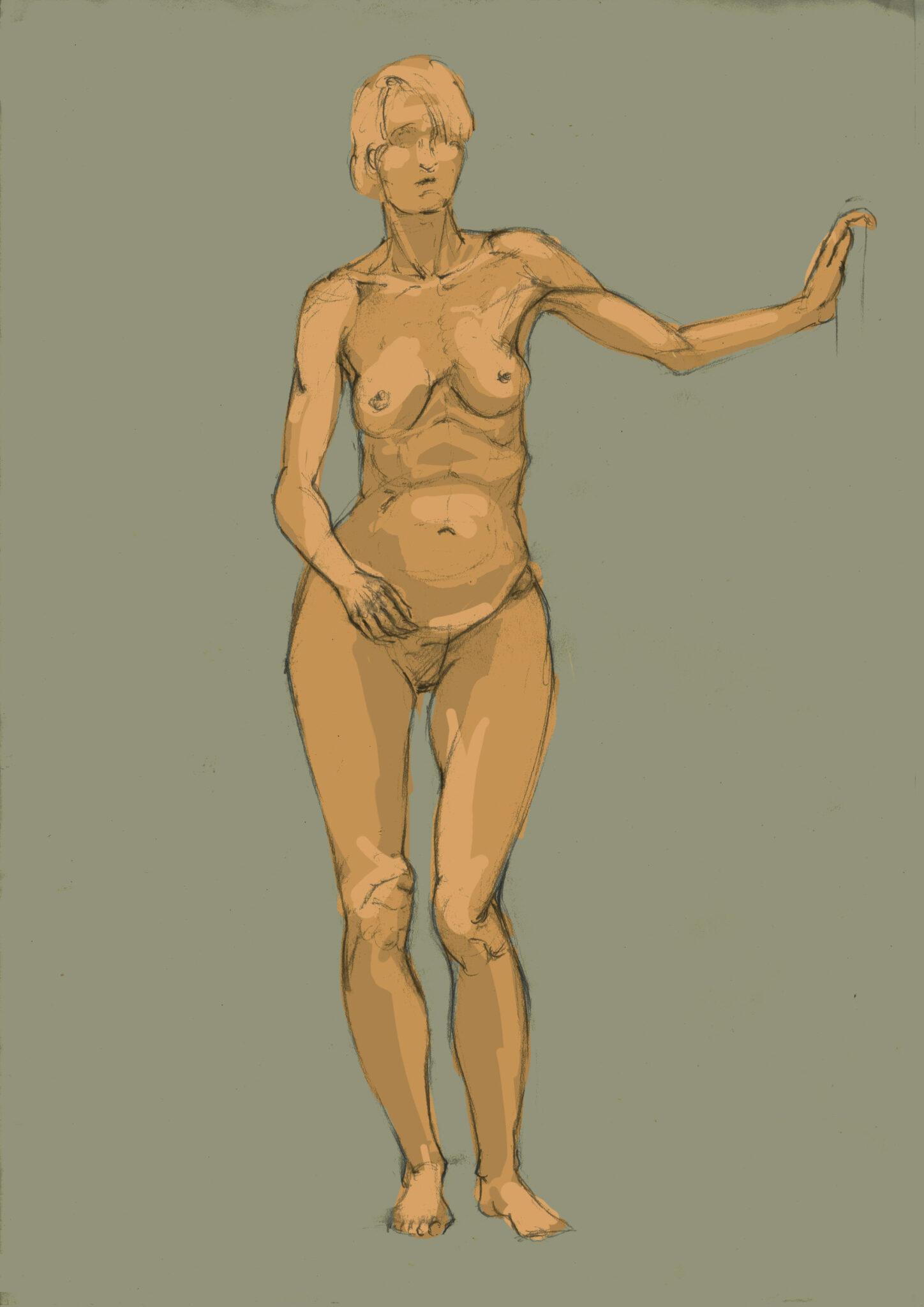 Modele vivant (crayon, colorisation numérique)