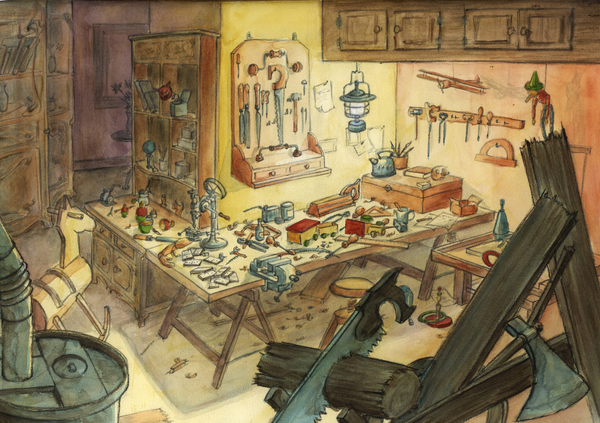 L'atelier de Gepetto (crayon, aquarelle)