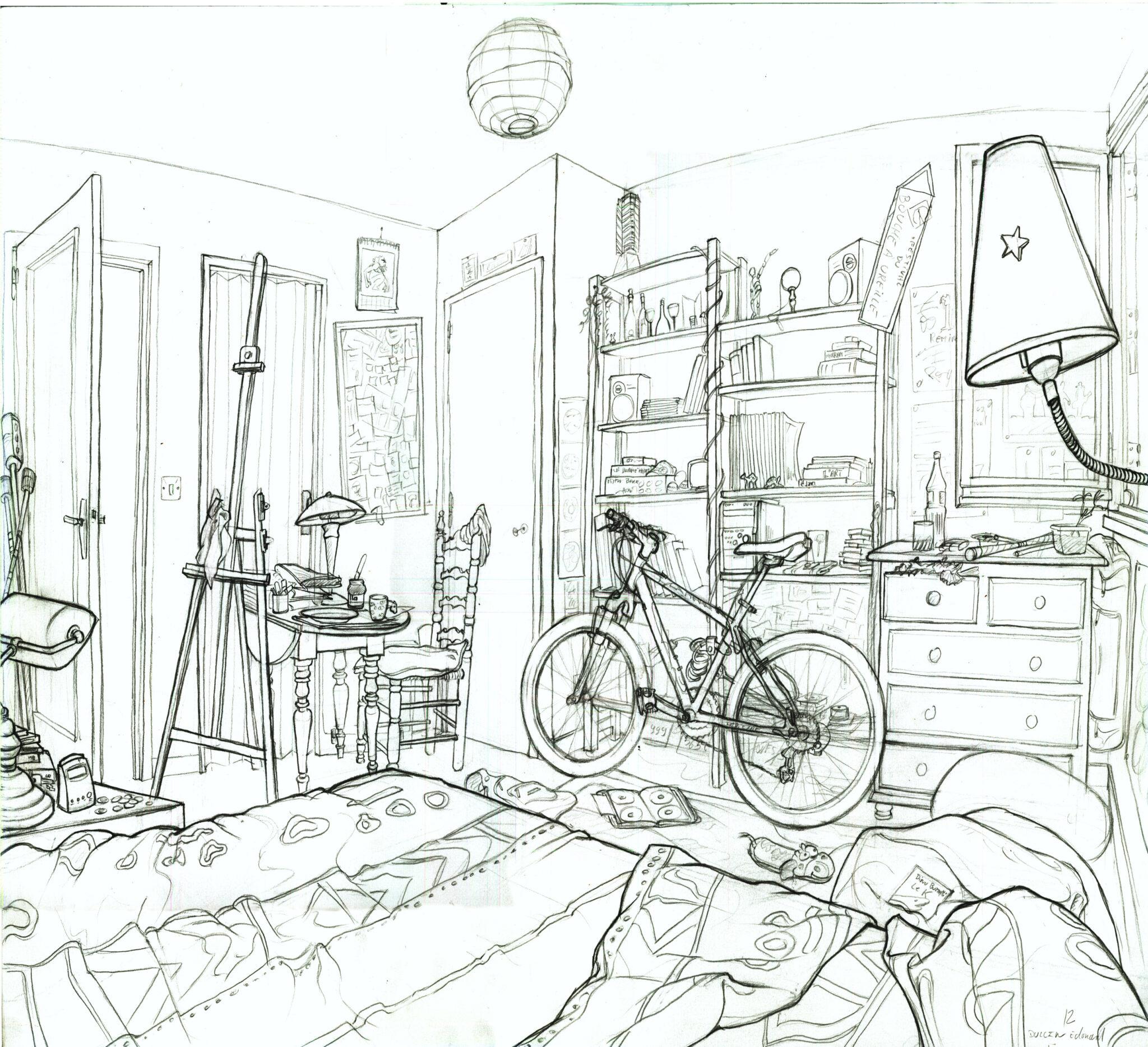 Croquis de ma chambre (crayon)