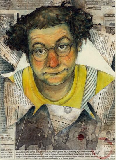 Portrait de Coluche (aquarelle, pierre noire et papier journal)