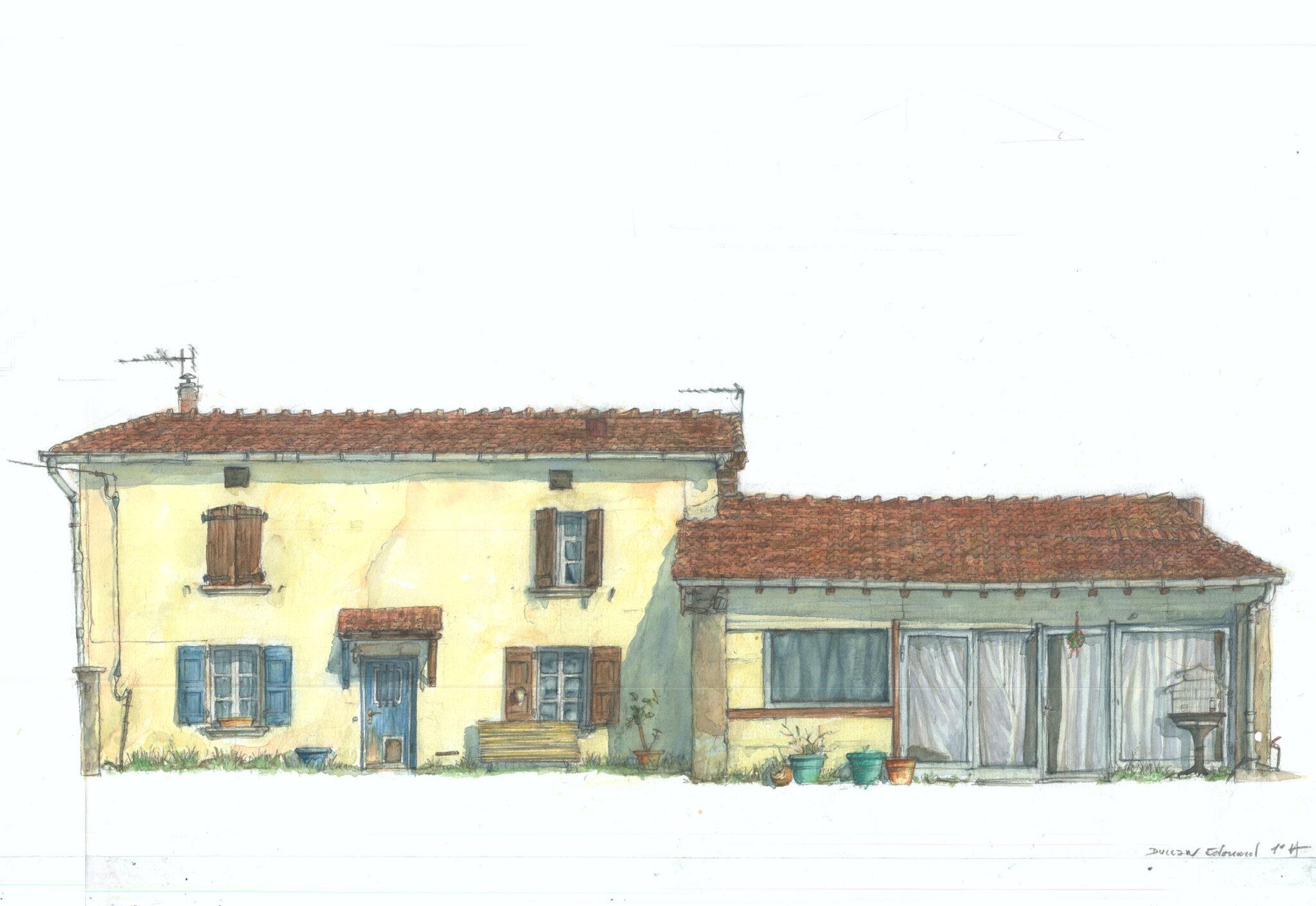 """""""La maison de Charpey"""" (crayon, aquarelle)"""