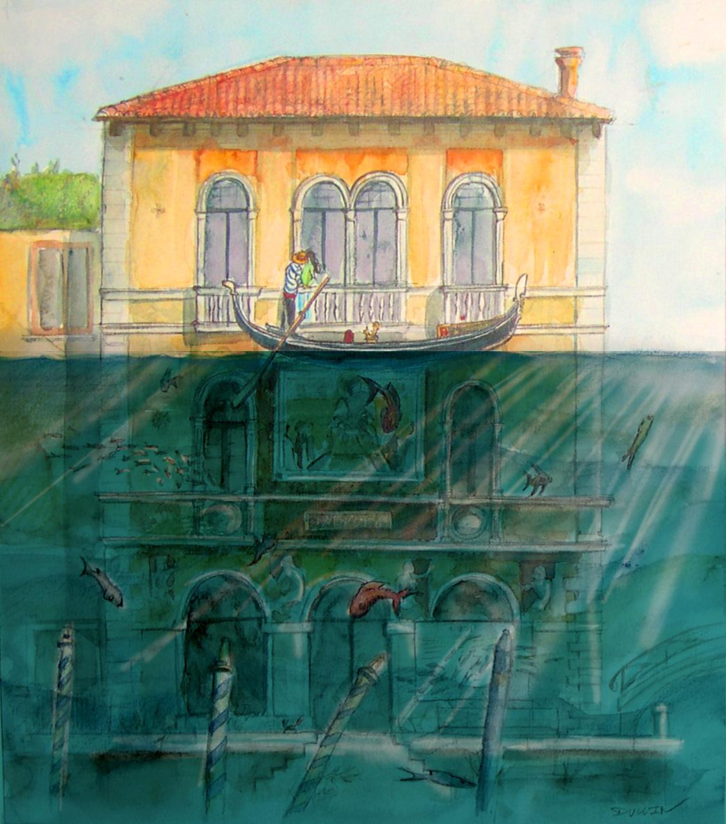 La montée des eaux (crayon, aquarelle)