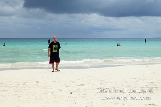 Me enjoying the beautiful beach front of Henann Prime Beach Resort
