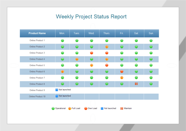 It Status Report Template project features of the project 5 – Employee Status Report Template