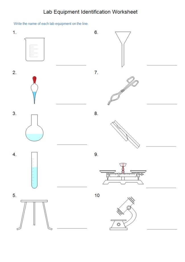 Lab Equipment Worksheet Free Lab Equipment Worksheet Templates