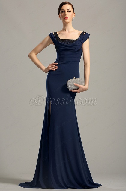 eDressit Off Shoulder High Slit Navy Blue Evening Dress (00154505)