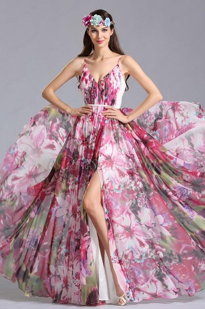 V Neck Spaghetti Straps Summer Printed Dress Holiday Dress