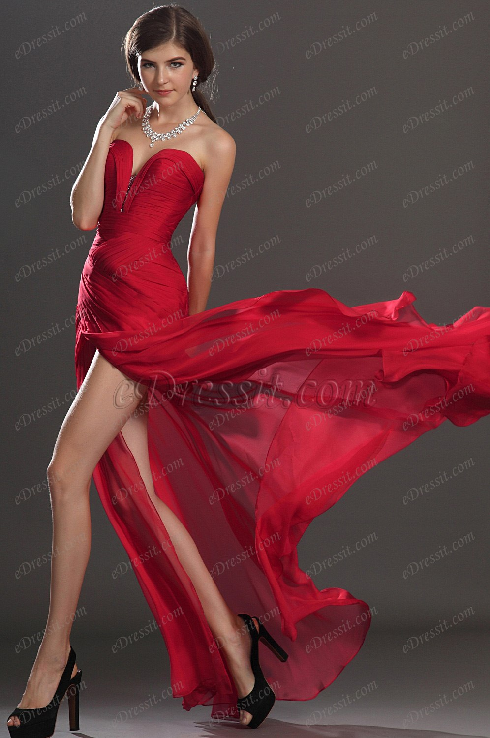 red tencel evening dresses