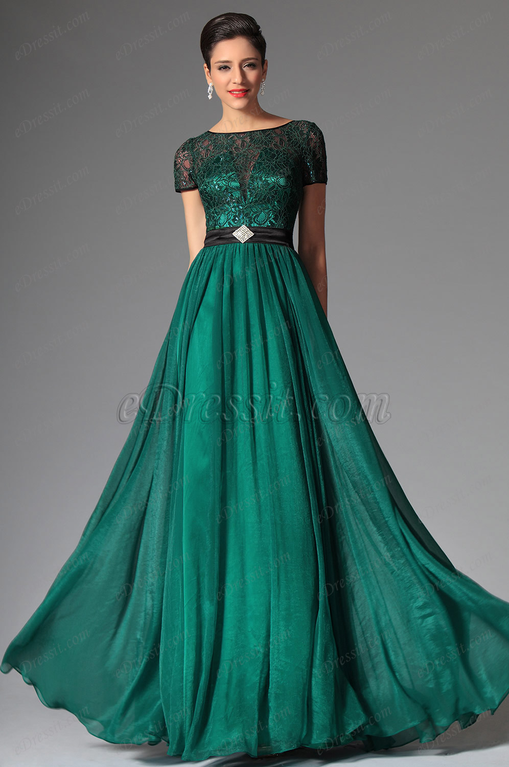 eDressit 2014 New Dark Green Short Sleeves Evening Dress Prom Dress