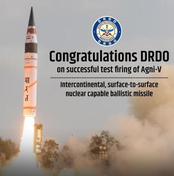 Agni-5 ballistic missile tested succesfully