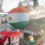 INS Karanj, India's third Scorpene class submarine, launched in Mumbai