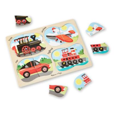 Vehicles 4-in-1 Wooden Peg Puzzle