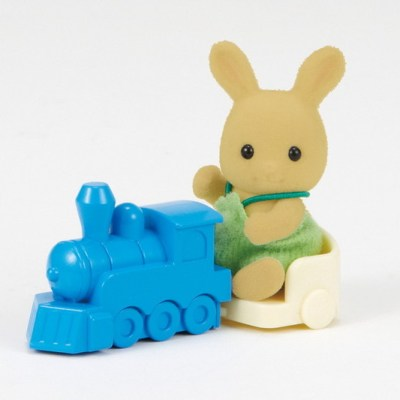 Ochre Rabbit Baby with Train