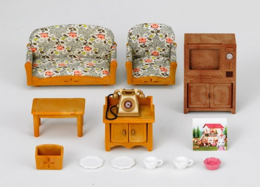 Country Living Room Set with Rabbit Mother
