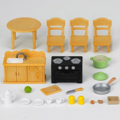Country Kitchen Set with Cat Mother Sylvanian Families (20 Piece)