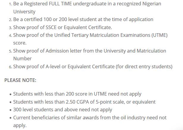 Total scholarship eligibility
