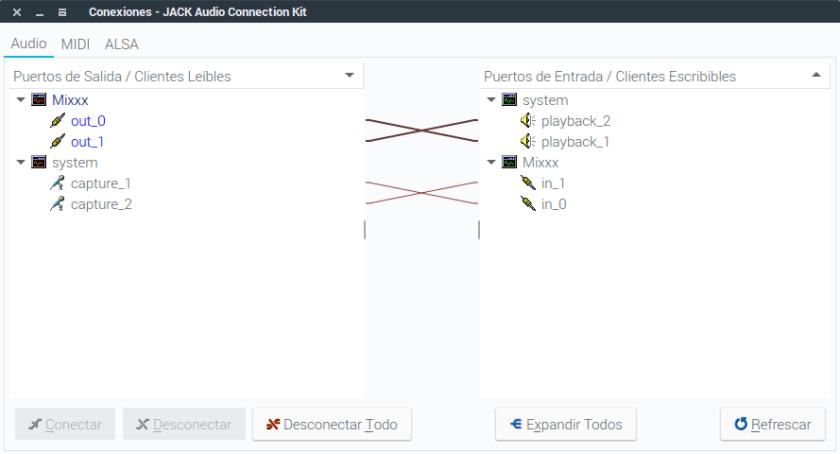 conexiones en qjackctl