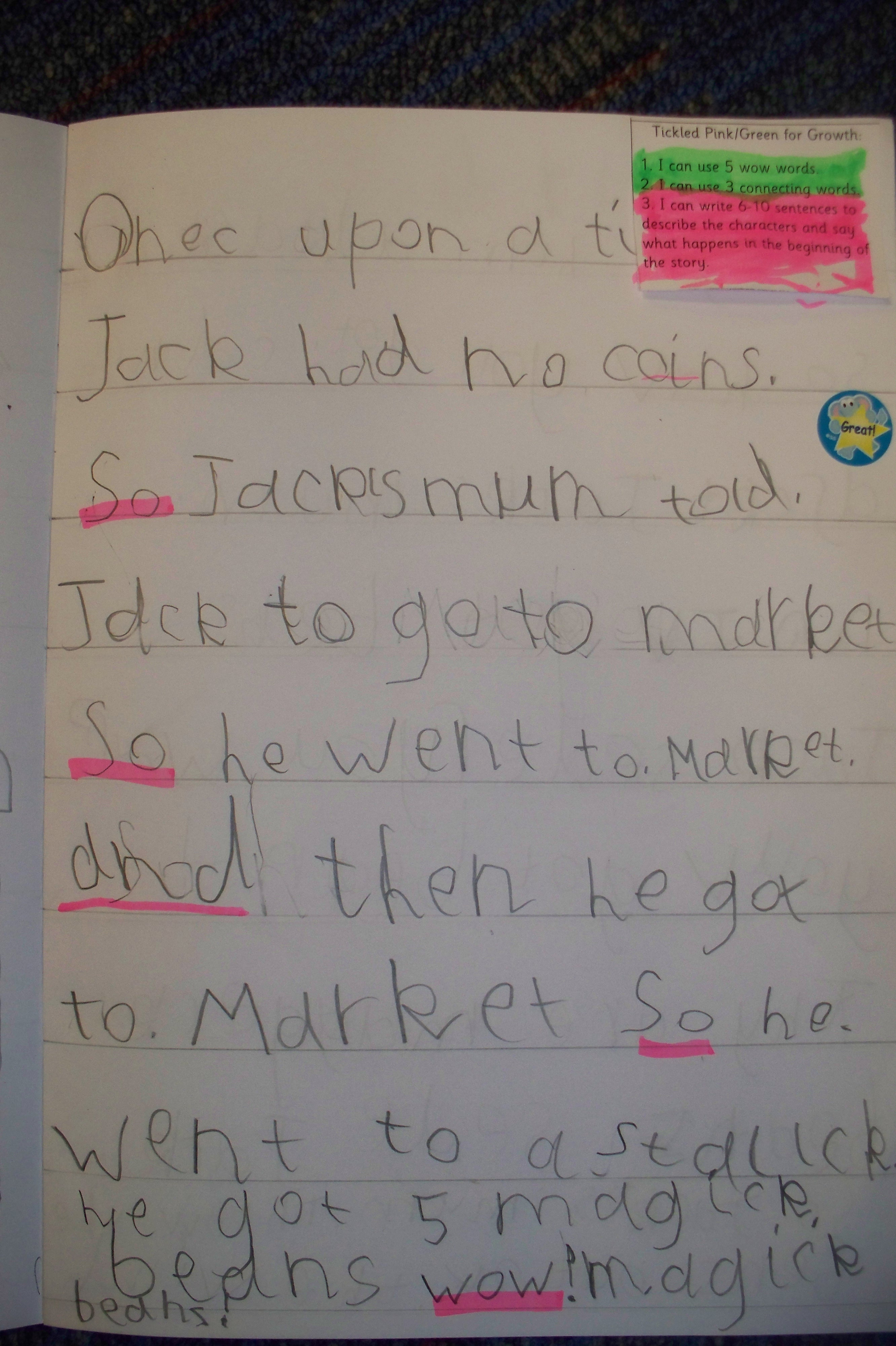 Super Story Writing Jack And The Beanstalk
