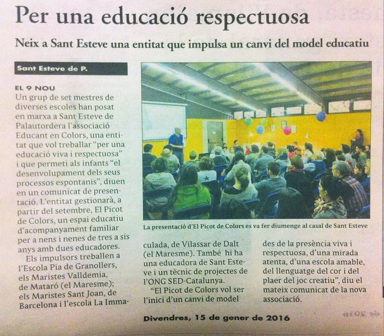 Notícia publicada el 15 de gener de 2015 al diari EL 9 NOU Vallès Oriental en relació a la presentació d'Educant en Colors i en Picot de Colors el 10 de gener de 2016 a Sant Esteve de Palautordera.