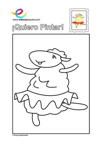 colorear_oveja-bailarina