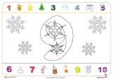 Fichas numeros navideños numero nueve
